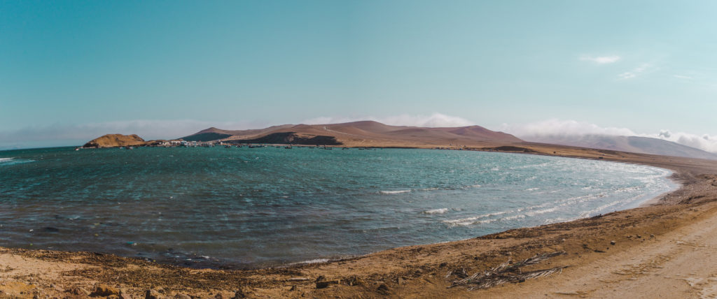 Epic mars-like bay landscape in Paracas National Reserve near El Chaco, Peru