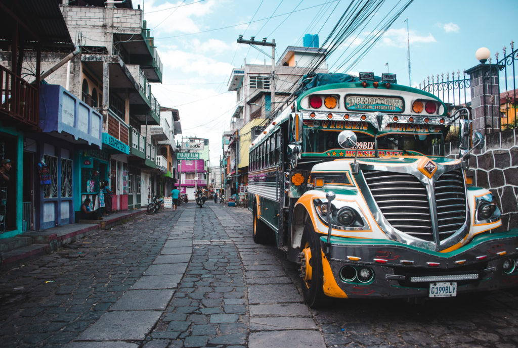 Chicken bus in San Pedro | A Guide to the towns of of Lake Atitlán, Guatemala | Latin America travel by Cuppa to Copa Travels