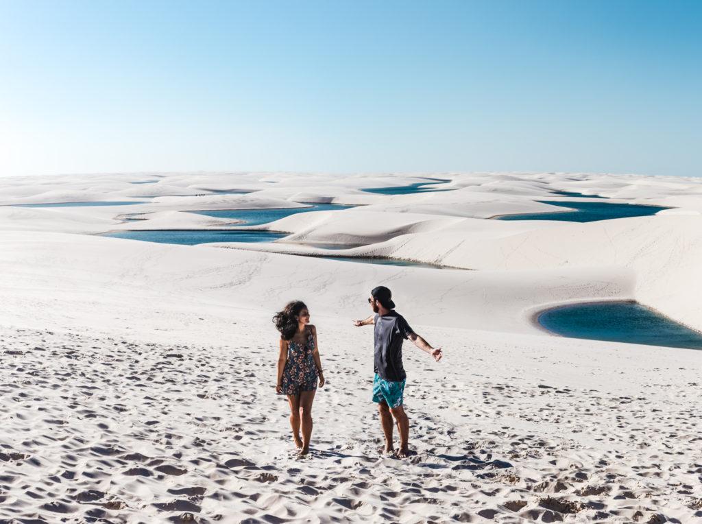 travel couple in Busy season July Lencois Maranhenses Sao Luis Barreirinhas Atins best sand dunes in Brazil Northeast